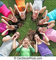 夏天孩子, 組, 營房, 呼喊, 青少年, 唱, 或者