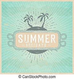 夏天, 云霧, 葡萄酒, 插圖, 假期, 紙, 背景, 海報, template., 老, texture., rays.