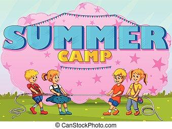 夏天, 享用, 營房, 孩子, 活動