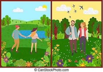夏天, 人們, 散步, 公園, 夫婦, 步行