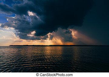 夏天, 光線, 云霧, 太陽, 在上方, 天空, 多雲, 戲劇性, 河