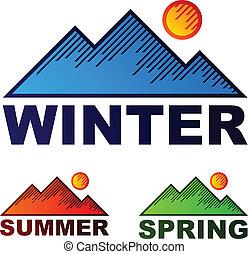 夏天, 冬天, 山, 春天, 矢量, 有條紋