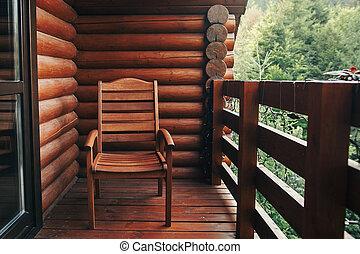 夏天, 大气, 放松, vacation., 国家, woods., 门廊, moment., 木制, 森林, 时间, 村舍, 乡村, 椅子, 察看, 山。, 船舱, 阳台