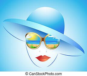 夏天, 女孩, 在中, a, 帽子