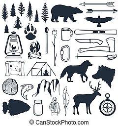 夏天, 娛樂, 戶外, 理念, 遠足, elements., silhouettes., 旅行, 營房, 標籤, badges., 彙整, 手, 荒野, 集合, 畫, outdoors., 象征, 露營
