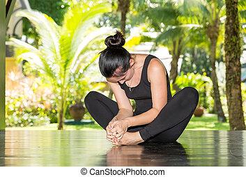 夏天, 婦女, 瑜伽, nature., 年輕, 早晨, pilates, 實踐, 沉思
