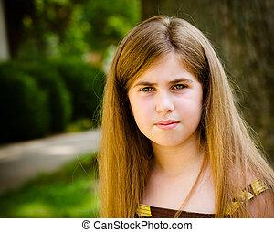 夏天, 孩子, 年轻, 相当, 严肃, 肖像, 女孩