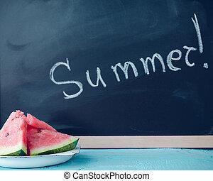 夏天, 寫, 黑板