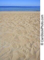 夏天, 岸, 沙子, 海岸線, 海灘, 遠景
