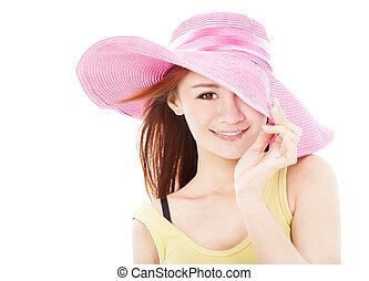 夏天, 微笑的婦女, 被隔离, 白色