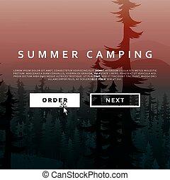 夏天, 性质地形, 在背景上, 在中, 山, 森林, 同时,, 河