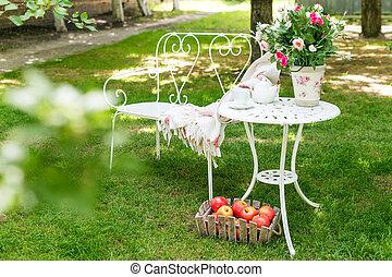 夏天, 戶外, 花園, 茶, 裝飾, 黨, 确定