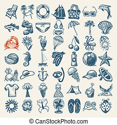 夏天, 拖拉, 49, 图标, 勾画, 收集, 手