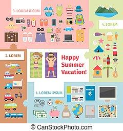 夏天, 旅行, 以及, 假期, 元素