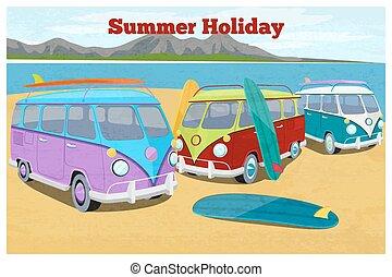 夏天, 旅行, 設計, 由于, 衝浪, 露營車 搬運車