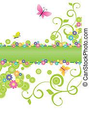 夏天, 旗幟, 綠色, 由于, 蝴蝶, 以及, 花