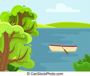 夏天, 春天, 陽光普照, lake., 鄉村, day., 風景