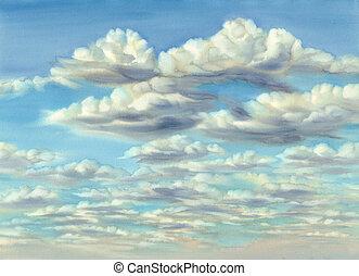 夏天, 晚上, 云霧, 天空, 水彩, 背景