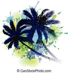 夏天, 棕櫚, 背景, 樹