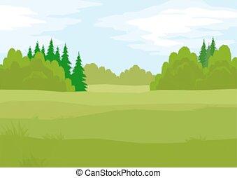 夏天, 森林, 風景, 低, poly