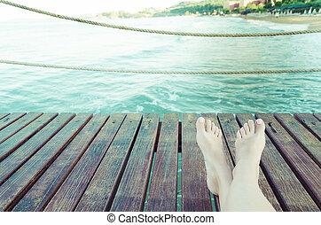 夏天, 概念, 木制, 在上方, 假期, 背景, 腿, 板條