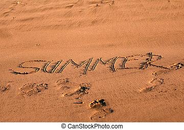 夏天, 沙子, -, 寫