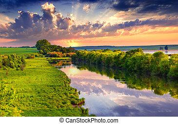 夏天, 河, 鮮艷, 早晨