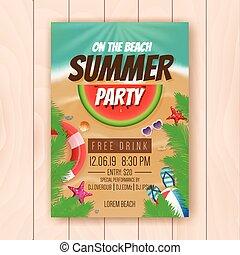 夏天, 海報, 設計, 做廣告, 黨, 海灘