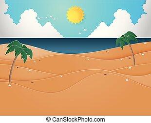 夏天, 海灘。, 樹, 棕櫚, 插圖, 海, 海灘
