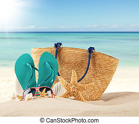 夏天, 海灘, 由于, 藍色, 涼鞋, 以及, 殼