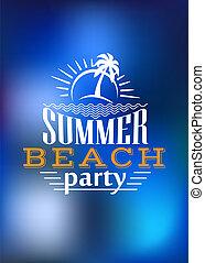 夏天, 海灘, 設計, 黨, 海報