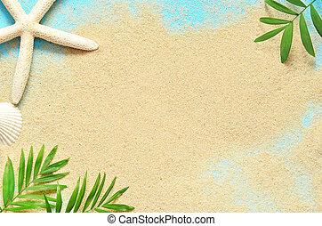 夏天, 海灘。, starfish, 以及, 上, the, sand.