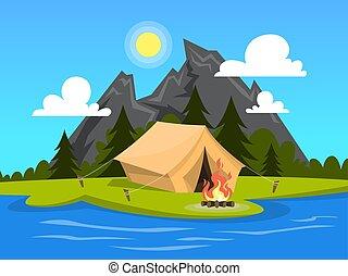 夏天, 營火, 河, camp., 帳篷