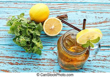 夏天, 生活, 檸檬, 茶, 飲料, 茶點, 新鮮, 仍然, 薄荷