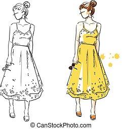 夏天, 看, 女孩, 在中, a, 黄色, dress., 矢量, 方式, 描述