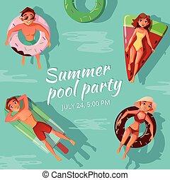 夏天, 矢量, 池, 插圖, 黨