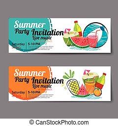 夏天, 票, 池, 樣板, 黨
