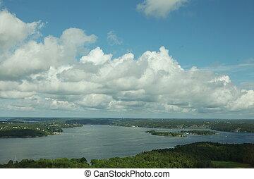 夏天, 空中, 全景, 斯德哥爾摩, 瑞典, 風景