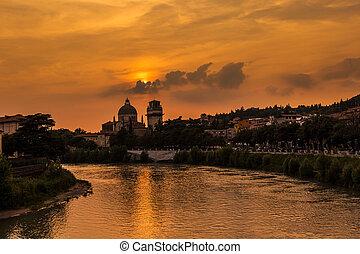 夏天, 維羅納, 義大利, 天空, 旅行, 多雲, 河, 傍晚, 教堂