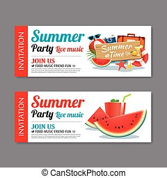 夏天, 背景, 樣板, 邀請, 黨, 票, 池