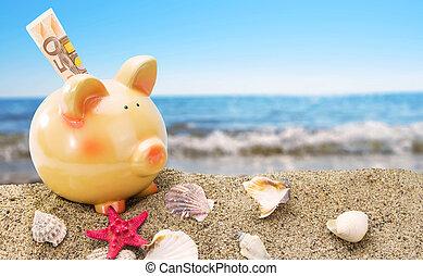 夏天, 背景, 沙子, 小豬, 海, 銀行