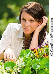 夏天, 花園花, 美麗的婦女, 浪漫, 看