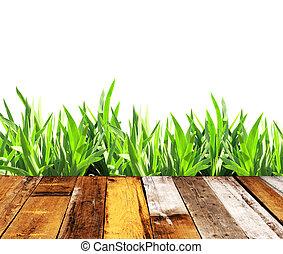 夏天, 草, 以及, 老, 木 板條