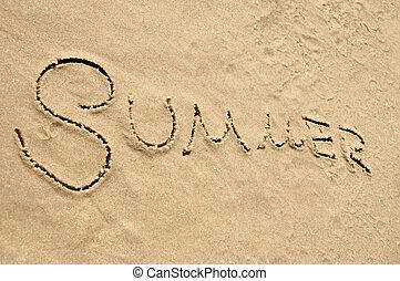 夏天, 題字, 在沙子上