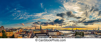 夏天, 風景, 全景, 斯德哥爾摩, 瑞典, 夜晚