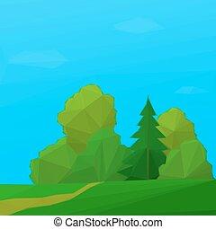 夏天, 風景, 森林, poly, 低