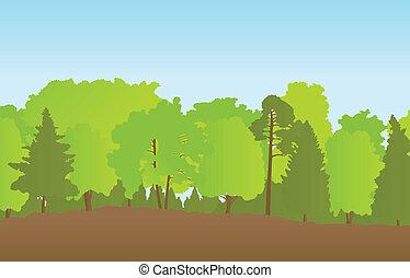 夏天, 風景, 矢量, 森林, 背景