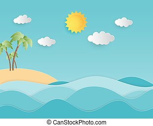 夏天, 風格, 概念, 背景, 插圖, 創造性, 紙, 傷口, 樹。, 棕櫚, 海, 波浪, 海灘, 風景