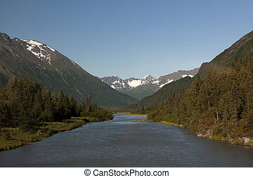 夏天, eveing, 落下, 在上方, 河, 切, 透過, 山谷