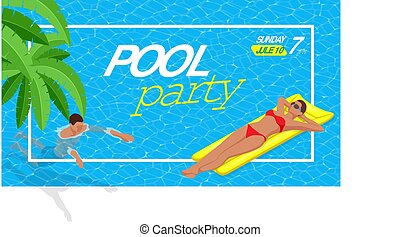夏天, illustration., 网, vacation., 黨。, nightclub., aloha, 或者, 矢量, 飛行物, 邀請, 海灘, 旗幟, summer.